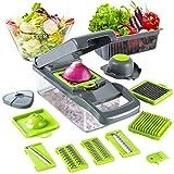 Cortador de verduras de mandolina 13 en 1 cortador de verduras, cortador de patatas con contenedor de alimentos para patata, tomate, cebolla, ensalada de frutas