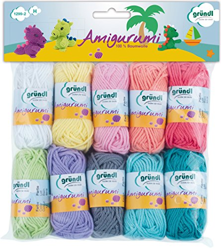 Gründl Amigurumi Set di gomitoli di lana, Cotone, Multicolore, confezione con 10 pezzi