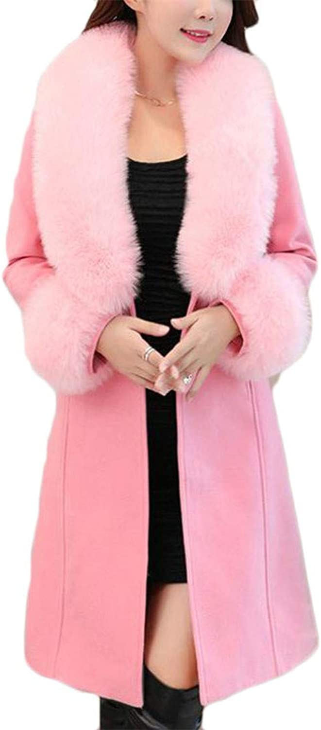 XiaoTianXinwomen clothes XTX Womens Single Breasted Autumn Winter Faux Fur Collar Long Jacket Overcoat Woolen Pea Coat