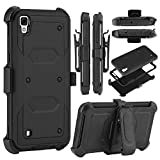 Ziaon(TM) Rugged Impact Armor Hybrid Kickstand Cover Case for LG X Power - Black (with Built in Screen Guard)