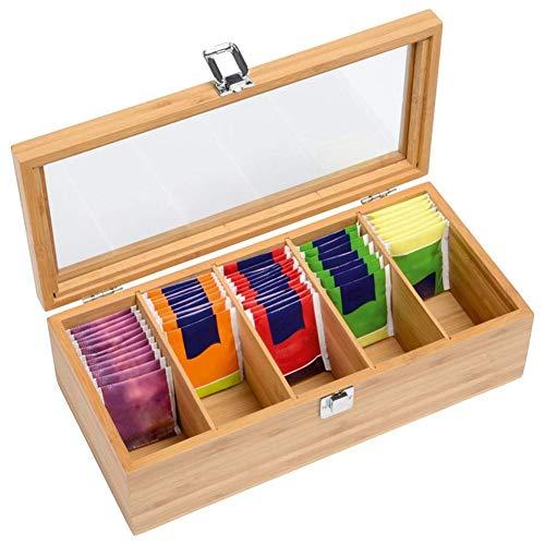 GZWY Teebox Klein Bambus Teekiste Teebox mit Teebeutel Messmer Teebeutelbox mit Sichtfenster, Teebeutel Aufbewahrungsbox, Dekorative Vorratsdose Schmuckkästchen Aus Holz 5 Fächern