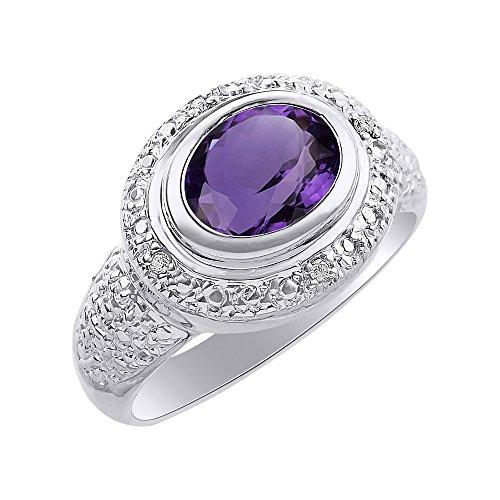 Juego de anillos de amatista y diamante en plata de ley – Halo de diamante – Anillo de piedra natal de color