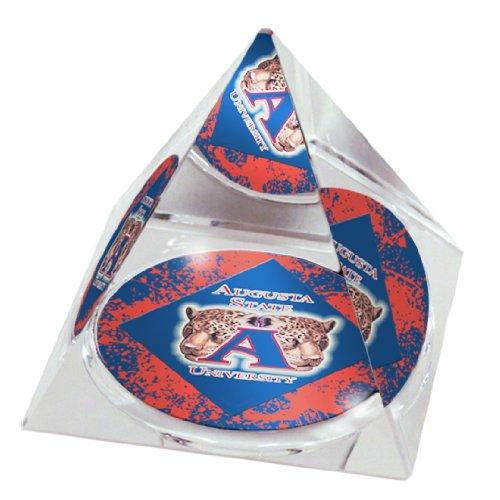 NCAA Augusta State University Jaguars Logo in 5 cm Kristallpyramide mit Farbiger Geschenkbox mit Sichtfenster