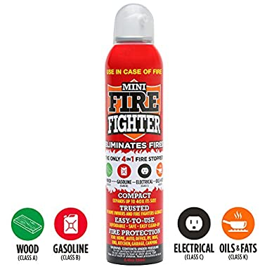 Mini Firefighter All Purpose Fire Extinguisher CLASSES ABCK Gasoline, Kitchen Grease Oil & Fats, Electric and Wood Fires For Home Apartment Office Boat RV Camping