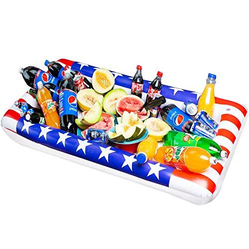 Chuzy Cef Tavolino gonfiabile da biliardo, grande vassoio da buffet con tappo di scarico, mantiene le tue insalate e bevande fredde, per feste, accessorio per bar e feste 2 pezzi Flag