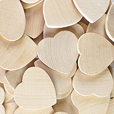 """Round Heart Shaped Unfinished 1.3"""" Wood Cutout Circles Chips for Board Game Pieces, Arts & Crafts Projects, Ornaments (50 Pieces) by Super Z Outlet"""