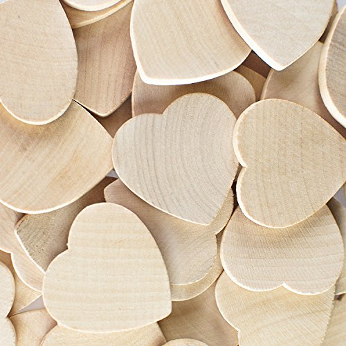 Round Heart Shaped Unfinished 1.3' Wood Cutout Circles Chips for Board Game Pieces, Arts & Crafts Projects, Ornaments (50 Pieces)
