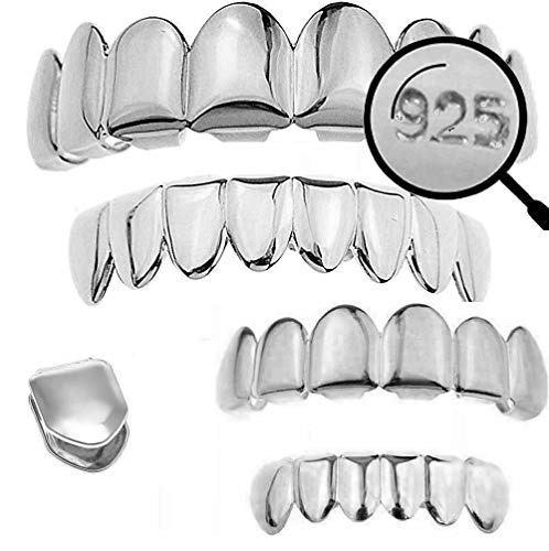 Harlembling Solid 925 Sterling Silver Grillz - 6 Or 8 Tooth Or Single Caps/Top & Bottom Grills for Teeth - Real Solid Silver Fronts Don't Change Color (Single Tooth)