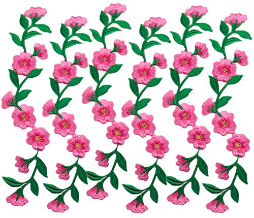 6 Pieces 9 1/2 Inch Long Patches Flowers Embroidered Iron on Patches Appliques for Garment Trimming Shoes Jeans Clothes Embelishments (Rose)