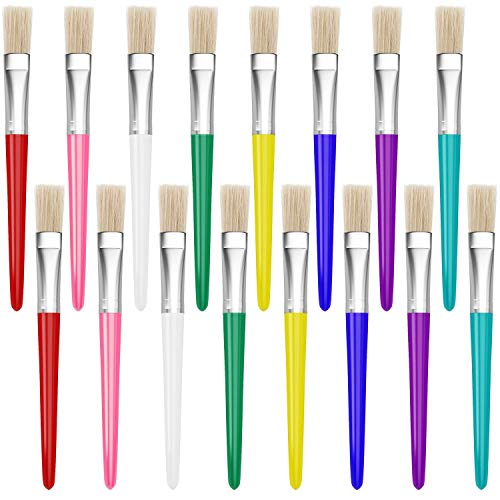 16 Piece Large Flat Tip Paint Brushes Hog Bristle Tempera and Artist Paint Brushes for Kids with Short Stubby Plastic Handle-Assorted Colors
