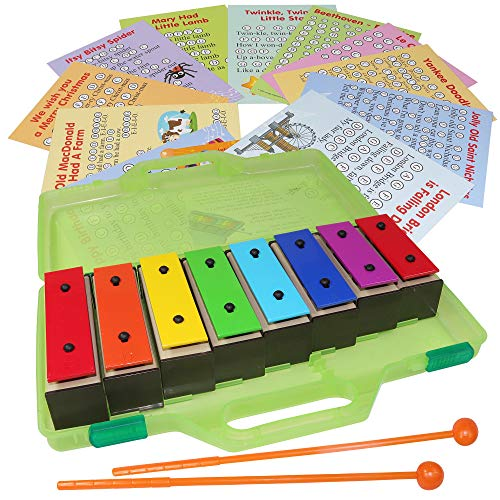 Chime Bar - Resonator Bells with Songs - Color Glockenspiel 8 Note Xylophone Kit - Song Cards