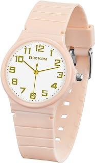 Kids Analog Watch 5ATM Waterproof Minimalist Wrist Watch with Soft Band for Girls Teens 5-18 Years Old Children (Pink)