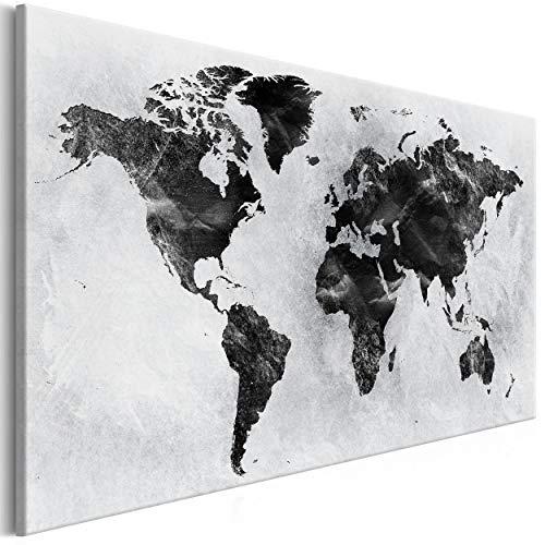 decomonkey Bilder Weltkarte 120x80 cm 1 Teilig Leinwandbilder Bild auf Leinwand Vlies Wandbild Kunstdruck Wanddeko Wand Wohnzimmer Wanddekoration Deko Landkarte Welt Kontinent Schwarz Grau