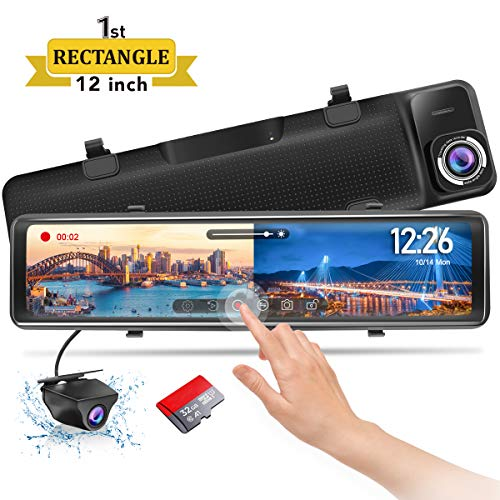 PORMIDO Mirror Dash Cam-Backup Camera 12'Large Full Touch Split Screen Front and Rear View Camera 1296P HD Waterproof Back up Car Camera 170° Wide Angle,Starlight Night Vision,Parking Monitor, SD Card