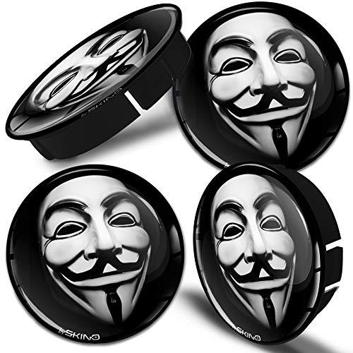 SkinoEu 4 x 60mm Universal Tapas de Rueda de Centro Máscara Anónima Anonymous Mask Tapacubos para Llantas Coche C 6