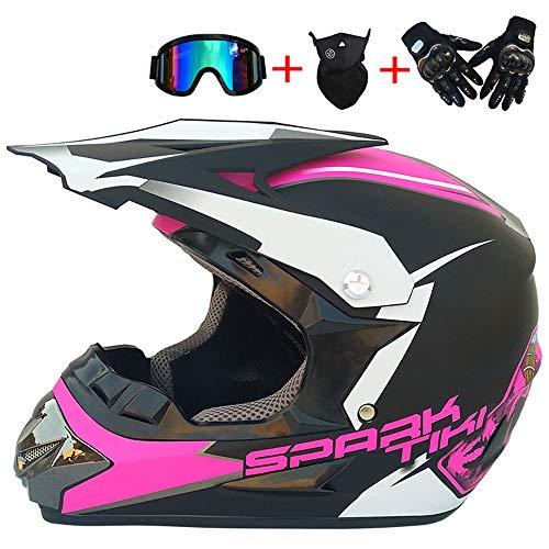 JCLDG Kinder Motocross MX Helm Motorradhelm & Handschuhe & Schutzbrillen D.O.T Standard, Crosshelm Kinderquad Off Road Enduro Sport Quad Bike ATV Go-Kart-Helm Pink,L