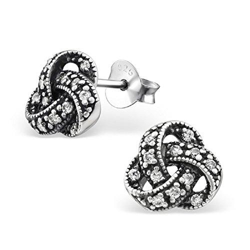Laimons Damen-Ohrstecker Damenschmuck Knoten oxidiert Weiß Zirkonia Sterling Silber 925