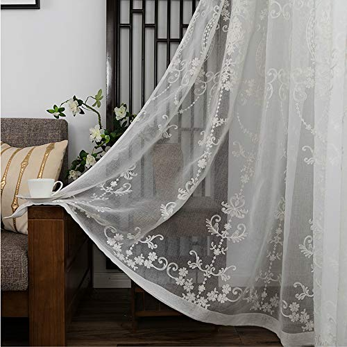 AiFish Rod Pocket Sheer Curtain 84 inches Long Beige White Sheer Curtains Panel Floral Embroidery Voile European Style for Living Room Sliding Glass Door W39 x L84 inch 1 Panel