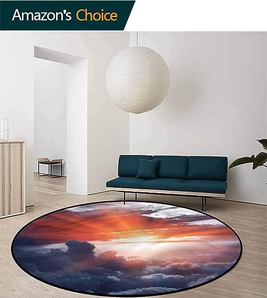 卧室用橄榄球云圆形地毯戏剧性的日落风景卧室家用蓬松地毯直径 59