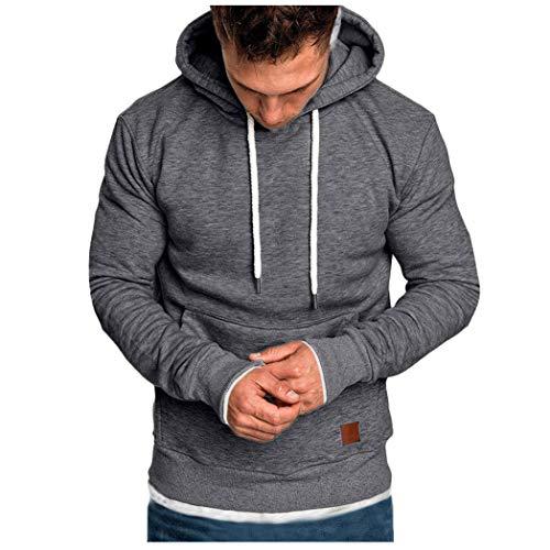 Fenverk Männer Sweatshirt Langarm Herbst Winter Herren Kapuzenpullover | Sale | Casual Sweatshirt Hoodies Top Bluse Trainingsanzüge(A Dunkelgrau,M)