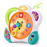 iPlay, iLearn Bilingual Learning Clock, English Spanish Tell Time Toy, Shape Number Teaching Tool, Quiz Mode, Early Educational Gift for 2 3 4 5 6 Year Olds Toddlers Preschool Student Kids Boys Girls