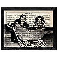 Nacnic Lámina Vintage pelicula La Fiera de mi niña sobre definicion de Hollywood - con Marco Negro - Tamaño A4.