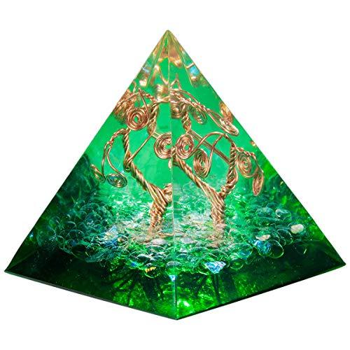 mookaitedecor Bergkristall Heilkristall Quarz Baum des Lebens Pyramide mit Grün Farbe, Baumform Reiki Symbol Positive Energiepyramide für EMF Schutz Meditation/Yoga/Heilchakra/Wohnkultur 50mm