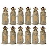 Growment 12 bolsas de arpillera para botella de vino con cordón reutilizable...