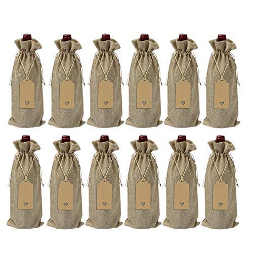 Yantan 12 bolsas de arpillera para botella de vino con cordón reutilizable para regalo de vino con etiquetas