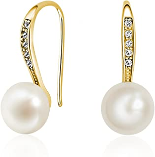 Mestige MSER3654 Women's Gold Plated Natural Pearl Drop and Dangle Earrings