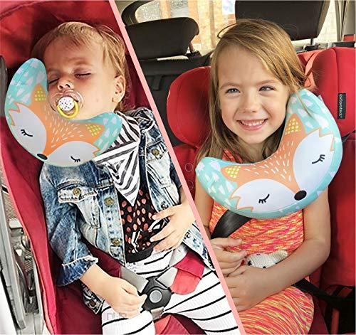 brunoko Poggiatesta Auto per Bambini reggitesta seggiolino Auto + Cuscino da Viaggio Bambini per Passeggino 2 in 1 - reggitesta Auto per Bambini e Imbottitura Cintura Sicurezza -Progettato in Spagna