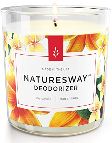 Nag Champa Odor Eliminating Scented Candles for Home | Non Toxic Long Lasting Soy Candles | Attractive Design | 12.5 oz Jar | Hand Made in The USA