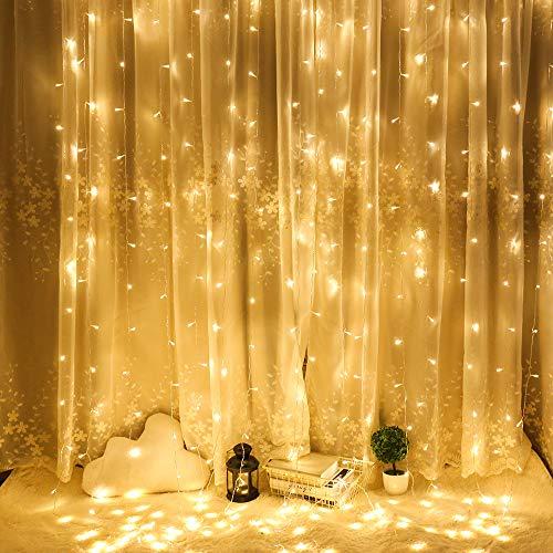 Cortina de Luces LED,YOFAPA 3 * 3M 300LEDs Luces de Navidad al Aire Libre con 8 Modelos de lluminación para Decoración de Ventana, Patio, Jardín,Bar, Navidad, Día de San Valentín,etc(Blanco cálido)
