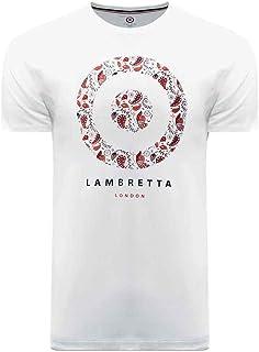 Lambretta Mens Paisley Target Cotton Short Sleeve T-Shirt Top Tee - White - XL