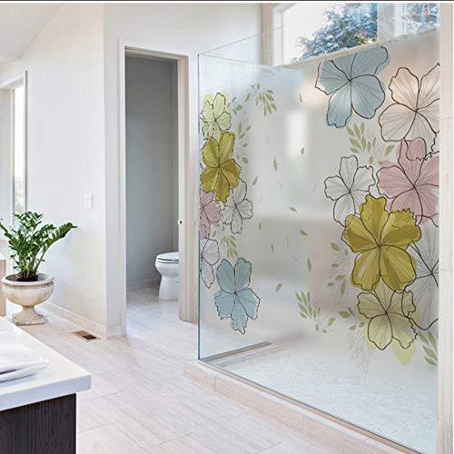 Djkaa raamfolie van mat PVC, ondoorzichtig, voor privacy, zelfklevend, bloem, huisdecoratie, muursticker met digitale print, mooie bloemen