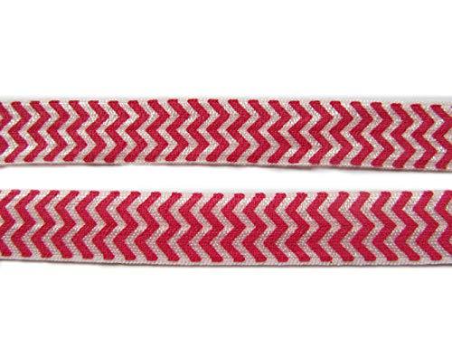 Yycraft SE replie sur élastique Foldover Ennemi élastiques pour cheveux cravates serre-têtes variété Couleur Lot 18,3 m 5/8 Inches Hot Pink Chevron