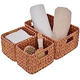 StorageWorks Hand-Woven Storage Baskets, Imitation Wicker Baskets for Shelves, Walnut, Set of 3 (1PC Large, 2PCS Medium)