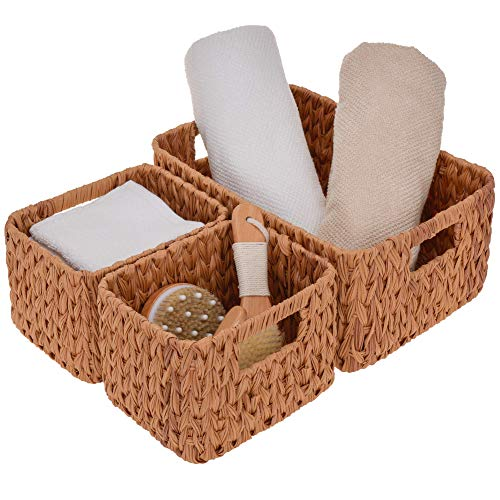 StorageWorks Hand-Woven Storage Baskets, Imitation Wicker Baskets for Shelves, Walnut, Set of 3 (1PC Large, 2PCS Medium)