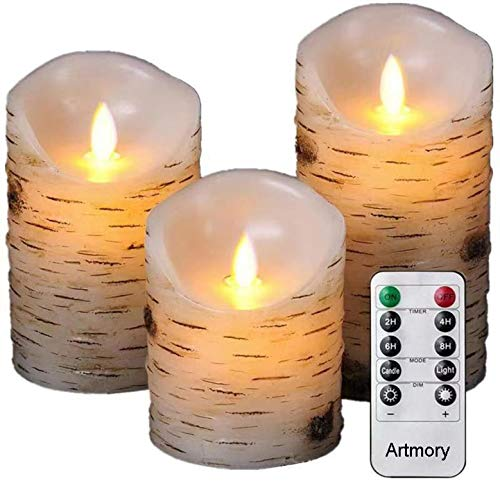 Artmory Flameless Candles Flickering, Birch Bark Pack of 3 Battery Operated Electric Decorative Pillar Candles with Remote Timer