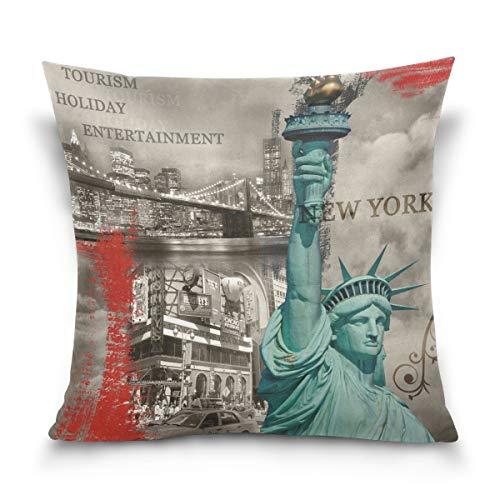 N\A Estatua de la Libertad de Doble Cara, monumentos de la Ciudad Americana, Nueva York, Funda Cuadrada de Terciopelo de algodón, Fundas de Cojines, Fundas Decorativas para Almohadas