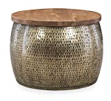 Powell Hammered Gold Drum with Natural Wood Lift Top for Storage Janice Table