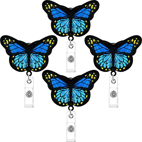 Butterfly Badge Reels Retractable Nurse Badge Holder Felt Butterfly ID Badge Reel with Alligator Clips for Nurses, Volunteers, Students, Teachers, Blue (4 Pieces)