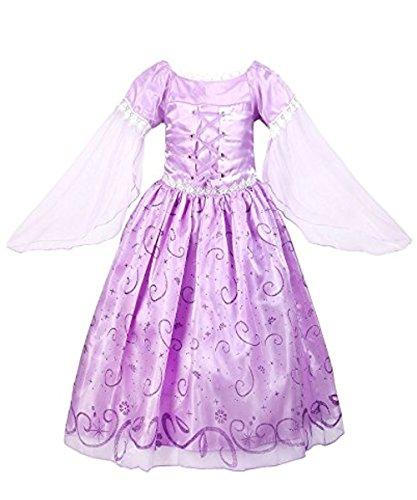 Yigoo Mädchen Kostüm Rapunzel Prinzessin Kleid Party Kinder Spitze Cosplay Paillette Kleidung Festival Hallween Karnerval 120