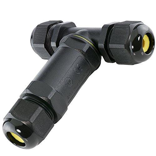 SSC-LUXon® wCable Verbindungsmuffe T-Stück IP68 Wasserdicht 5-polig - Verbindungsbox Kabelverbinder T-Form für Kabel Ø 4-14 mm in schwarz
