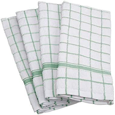 DII 100% Cotton, Machine Washable, Ultra Absorbant, Basic Everyday 16 x 26  Terry Kitchen Dish towel,  Set of 4- Mint Window Pane