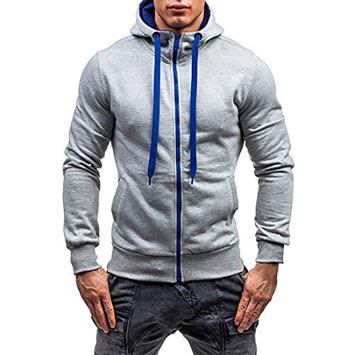 ZY Glaa Mens Plain Colour Zip Up Hoodie Casual Fleece Sweatshirt Hooded Jacket Hoody Top Jacquard Sweater Men Sports and Fitness Cardigan Hooded Jacket Hooded Sweatshirt with Side Pockets Hoody