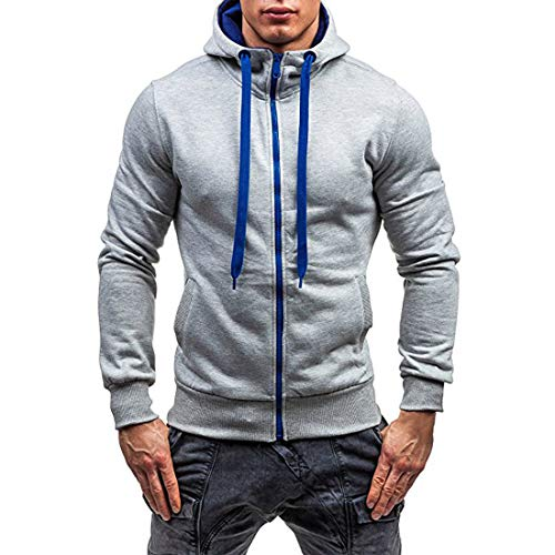 Sweatshirt Men Hoodie Men Drawstring Fashion Hoodie Autumn New Kangaroo Pocket Splicing Long Sleeve Casual Sport Slim Men Hoodie Running Hoodie Fashion Men's Clothing B-Gray XL