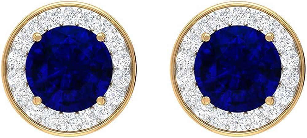 2.25 CT Created Blue Sapphire Stud Earrings with Diamond Halo (Heirloom Quality), Screw back