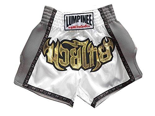 Lumpinee Muay Thai Boxhose, Retro, Weiß, Größe XXXL