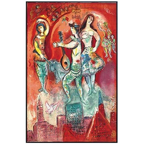 wzgsffs Wandkunst Leinwand Gemälde Tanzen auf der Burg Druck auf Leinwand Von Marc Chagall Wandbilder für Wohnzimmer Wohnkultur Kunstdruck -60x80cm No Frame